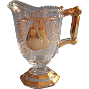 Baltimore Pear Gipsy Creamer Pressed Glass Gold Decoration