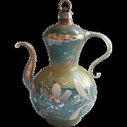 Vintage Blown Glass Coffee Pot Teapot Christmas Ornament Shabby Aqua Silver