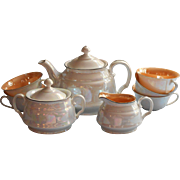 1920s 1930s Czech Tea Set Luster China Vintage Teapot Creamer Sugar 5 Cups No Saucers