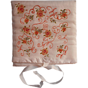 Vintage Hankie Case Hand Painted Satin Roses Unused