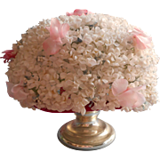 Vintage Hat 1960s Allover Millinery Flowers Tiny White Pink Accents