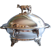 Victorian Butter Dish Round Figural Cow Silver Plated Simpson Hall Miller
