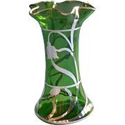 Antique Sterling Silver Overlay Emerald Green Glass Vase ca 1910