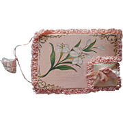 Antique Hand Painted Pink Satin Case Cards Postcard Hankie Lilies Embroidery