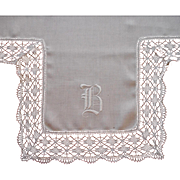 Monogram B Antique Lace Linen Tea Tablecloth Topper TLC