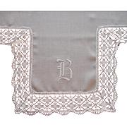 Monogram B Antique Lace Linen Tea Tablecloth Topper TLC