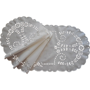 Broderie Anglaise Runner Antique Hand Embroidered Cutwork