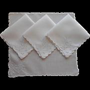 Tea Napkins Vintage Linen Cutwork Hand Embroidery Butterflies