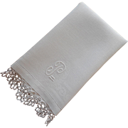 Monogram P Vintage Towel Linen Damask Tatted Lace Trim