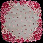Burmel Label Vintage Hankie Print Magenta Roses Cotton Unused