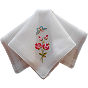 Vintage Hankie Hand Embroidered Roses Butterfly