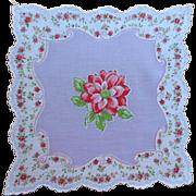 Vintage Hankie Print CottonUnused  Lavender Purple Deep Pink Flowers