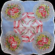 Vintage Hankie Unused Original Labels Printed Cotton Nosegays Bouquets