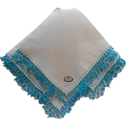 Tatted Lace Vintage Irish Linen Hankie Bright Turquoise White Original Label Unused