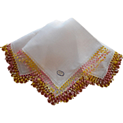 Tatted Lace Vintage Irish Linen Hankie Pink Yellow White Original Label Unused