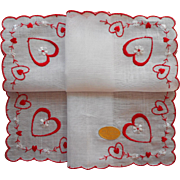 Vintage Hankie Valentine's Original Label Unused Red Embroidery Valentine Hearts