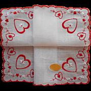 Vintage Hankie Valentine's Original Label Unused Red Embroidery Valentine Hearts