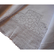 Antique Tablecloth Linen Filet Crocheted Lace Luncheon Square