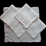 1920s Tea Napkins Cutwork Hand Embroidery Butterflies Vintage Linen Set 5