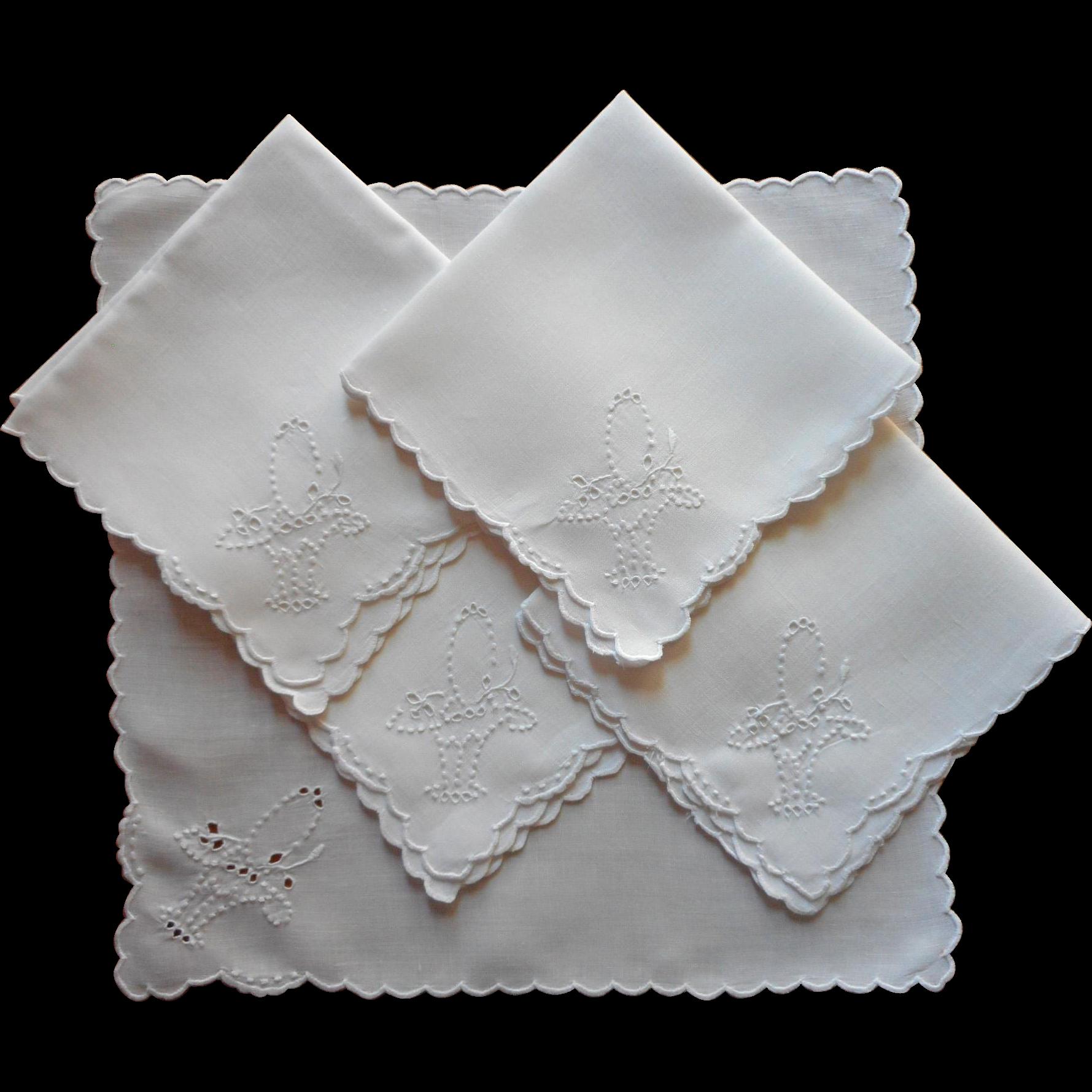 1920s tea napkins cutwork hand embroidery butterflies for Glass cut work designs