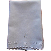 Monogram H Antique Linen Hand Towel Whitework Hand Embroidery
