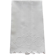Monogram W Antique Towel Whitework Hand Embroidery
