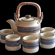Otagiri Horizon Tea Set Teapot Rattan Handle 5 Handleless Cups Vintage Stoneware
