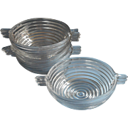 Art Deco Manhattan 4 Bowls Tab Handle Vintage Glass Anchor Hocking