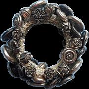 Vintage Button Bracelet Buttons Glass Metal Black Silver Elastic Crocheted