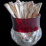 Vintage Teaspoons Ruby Stain Pressed Glass Spooner 40 Silver Plated