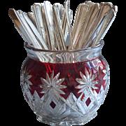 Vintage Teaspoons Ruby Stain Pressed Glass Spooner 36 Silver Plated