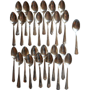 26 Vintage Silver Plated Teaspoons Sugar Spoon All Worn Buffet Holiday
