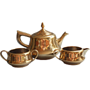 Brass Finish Tea Set Vintage Teapot Creamer Open Sugar Bowl