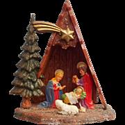 Vintage A Frame Nativity Hard Plastic Christmas Freestanding Or Hang Accepts Bulb
