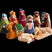 Vintage Felt Nativity Sequins Charming Hand Sewn 1960s 1970s