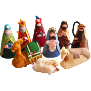 Vintage Felt Nativity Sequins Charming Hand Sewn 1960s 1970s