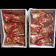 Vintage Papier Mache Paper Christmas Bell Ornaments 1970s 80s Original Boxes