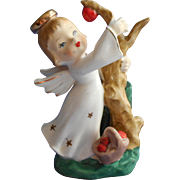 Irice Angel Figurine Vintage Match Toothpick Holder Vase Picking Apples Original Label