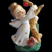 Irice Angel Figurine Vintage Match Toothpick Holder Vase Picking Apples Original Label