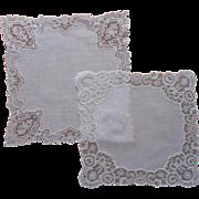 1920s Fine Lace 2 Vintage Hankies Hankie Reembroidered Net Lace