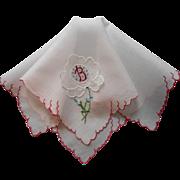 Monogram B Hankie Vintage Applied Flower Hand Embroidery Unused