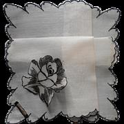 Vintage Hankie Black Embroidered Applied Rose Original Label Celebritees