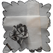 Vintage Hankie Black Embroidered Applied Rose Original Label Celebritees