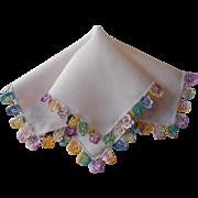 Vintage Hankie Pansies Crocheted Lace Trim Edging Linen