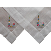 Monogram L Vintage 2 Hankies Hankie Petiti Point Hand Embroidery