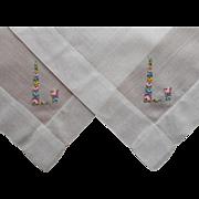 Monogram L Vintage 2 Hankies Hankie Petiti Point Hand Embroidery