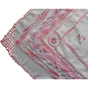 Vintage Hankies 6 All Pink Crocheted Lace Trim Linen