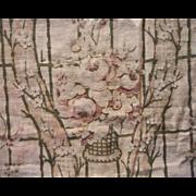 Antique 1910s Fabric Bolster Pillow Cover Pink Brown Cotton Cretonne Print