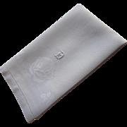 Monogram D Antique Linen Damask Hand Towel Roses Weave Motif