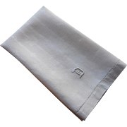 Monogram D Antique Linen Damask Hand Towel